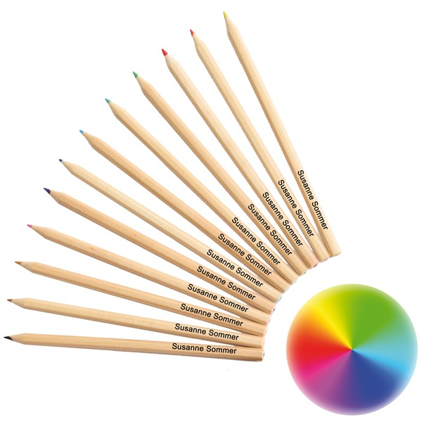 Natur-Farbstifte mit Namen, 12 Stück