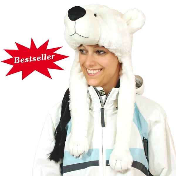 Eisbären-Mütze aus Plüsch