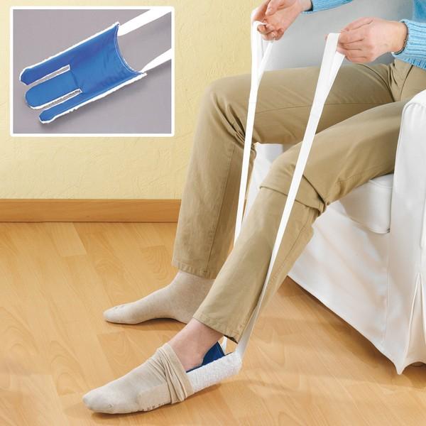 Anziehhilfe für Strümpfe, mit 70 cm langen Bändern