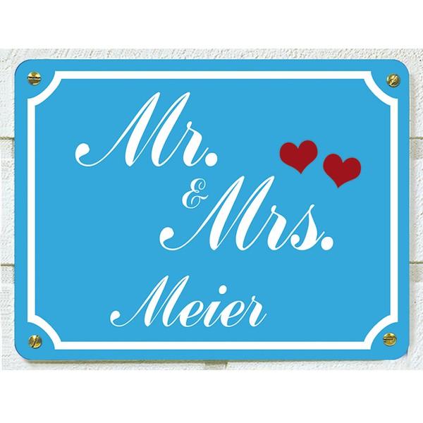 Mr. & Mrs. Haustürschild mit Wunschnamen, blau