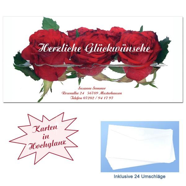 Glückwunschkarten Rosen 24 Stück + Umschläge