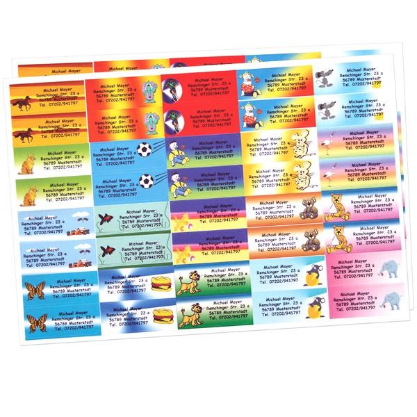 Kinder-Etiketten mit Adresse 80 Stück gemischt