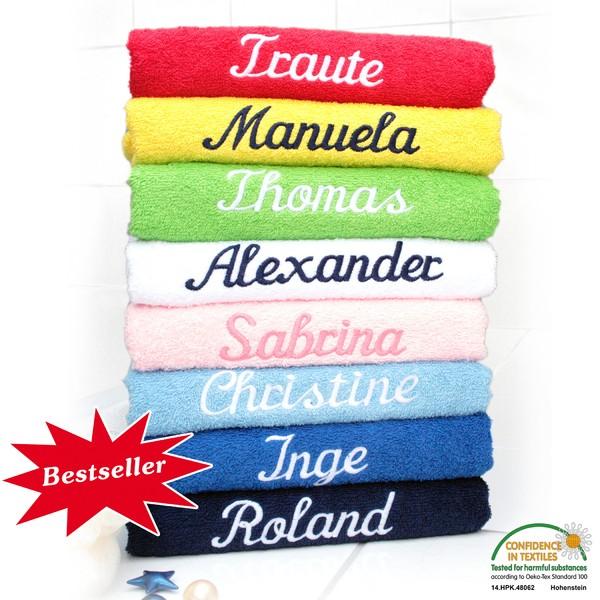 Handtuch / Badetuch mit eingesticktem Namen, aus 100% Baumwolle