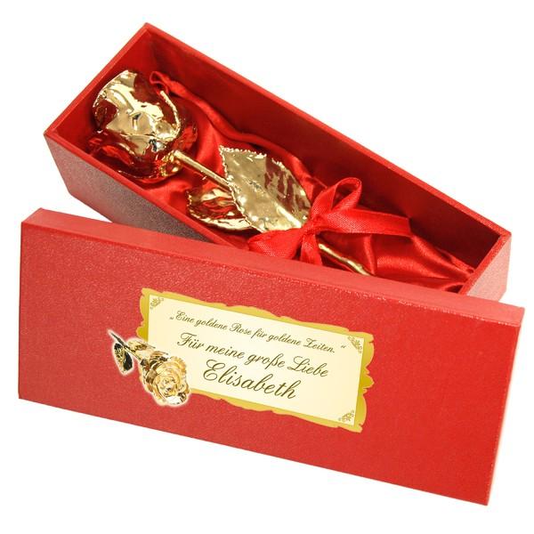 Echte Goldene Rose in Geschenkschatulle