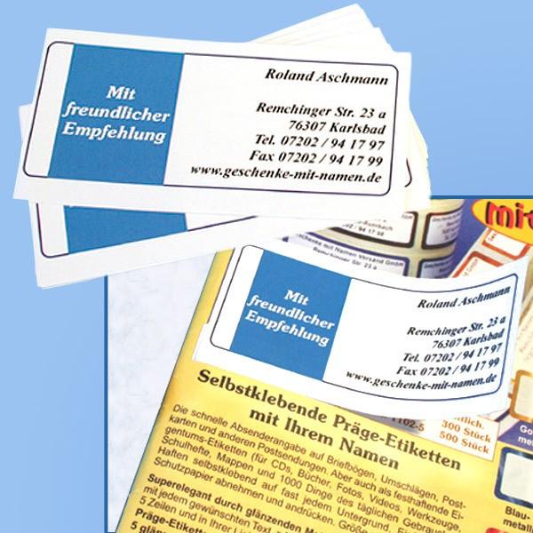 Empfehlungskärtchen mit Ihrer Adresse 100 Stück