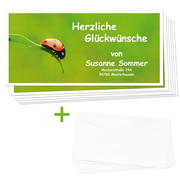 Glückwunschkarten Marienkäfer 24 Stück + Umschläge