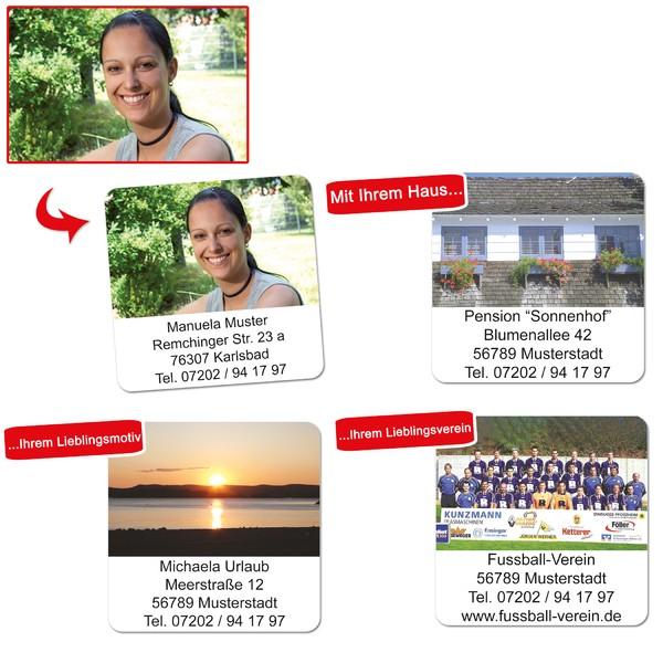 Foto-Etiketten mit Adresse & Foto 96 Stück