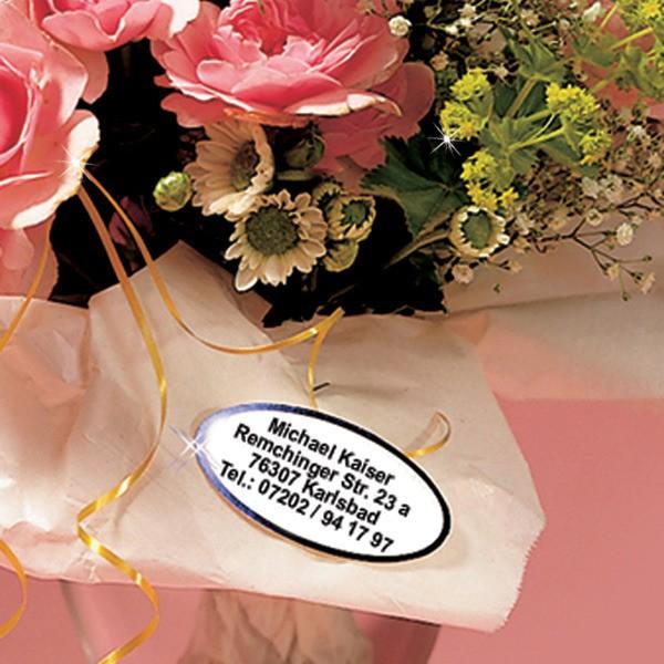 Präge-Etiketten oval mit Wunschadresse