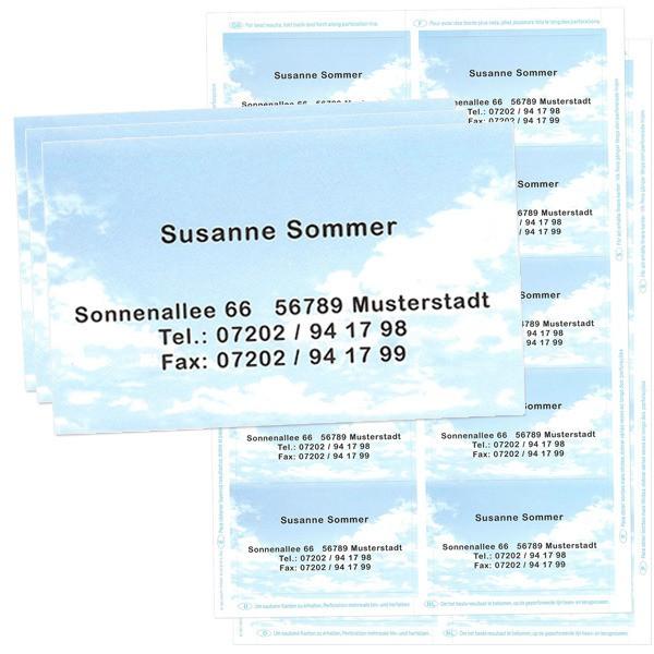 Visitenkarten mit Adresse Wolkenmotiv 20 Stück