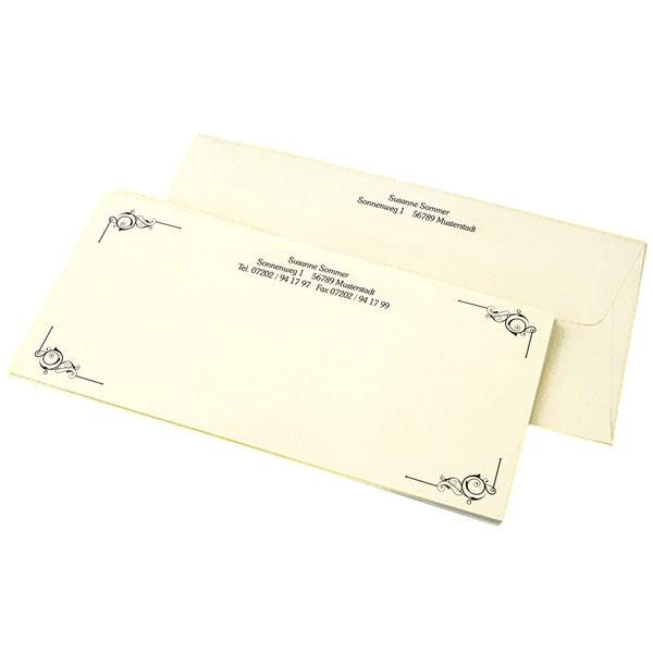 """Briefkarten Elfenbein """"Motiv Elegant"""" + 100 Umschläge"""