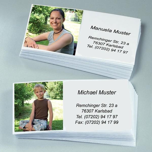 Foto-Visitenkarten mit Foto und Adresse 60 Stück