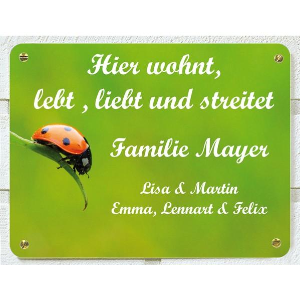 Türschild Marienkäfer, 15 x 20 cm groß, aus Aluminium