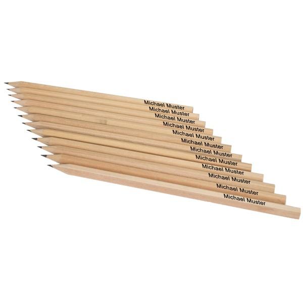 Natur-Bleistifte mit Namen, 12 Stück