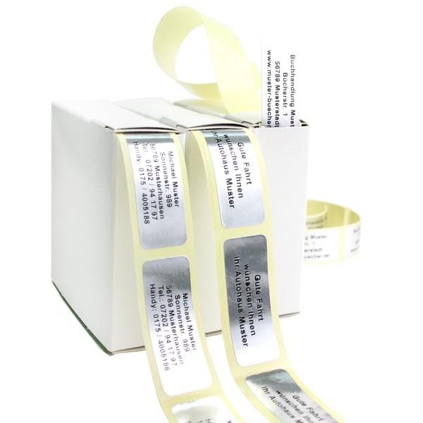 Edle Silberfolie-Etiketten mit Ihrer Wunschadresse