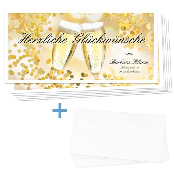 Glückwunschkarten Sekt 24 Stück + Umschläge