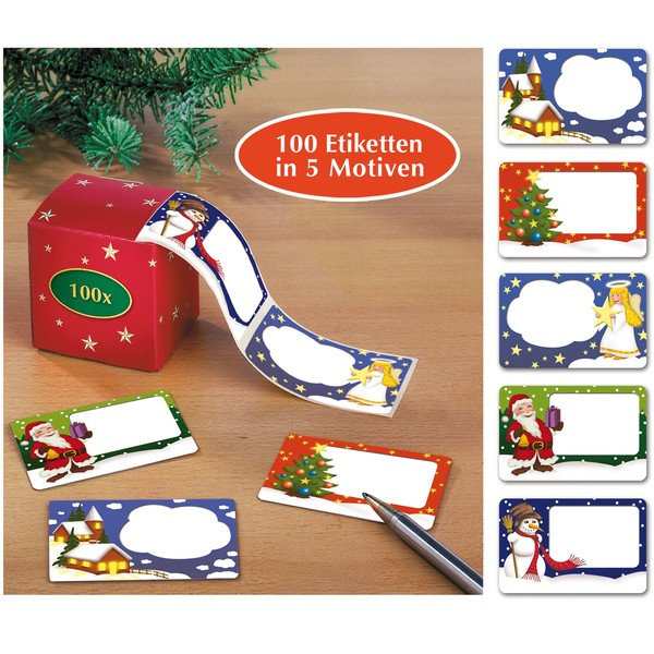 Weihnachts-Klebeetiketten, 100 Stück