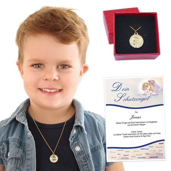Schutzengel Taufkette in 925 Silber oder vergoldet