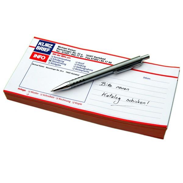 Kurzbriefe mit Ihrem Absenderaufdruck 200 Stück