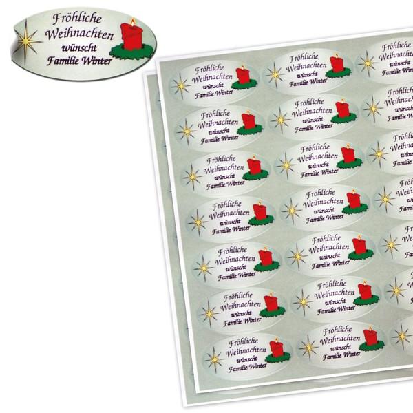 70 Weihnachtsetiketten oval