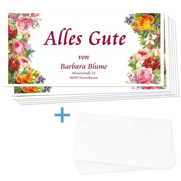 Glückwunschkarten Blumenmeer 24 Stück + Umschläge