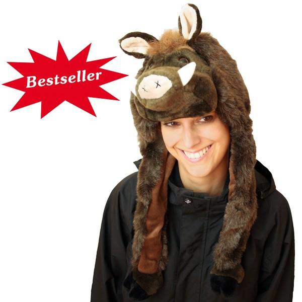 Wildschwein-Mütze aus Plüsch