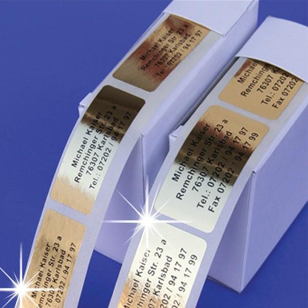 Edle Goldfolie-Etiketten mit Ihrer Wunschadresse