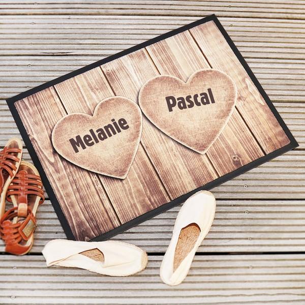 """Fußmatte """"Herzen"""" mit Ihren 2 Namen"""