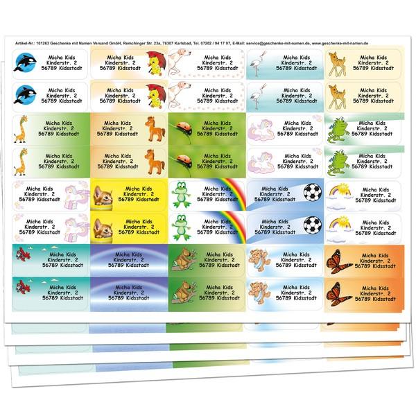Kids-Sticker mit Namen + Adresse 160 Stück gemischt