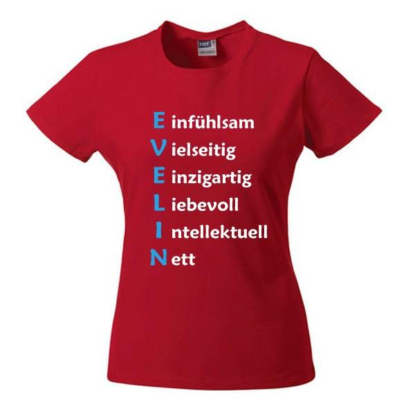 Namens-Shirt für Damen, aus 100% Baumwolle