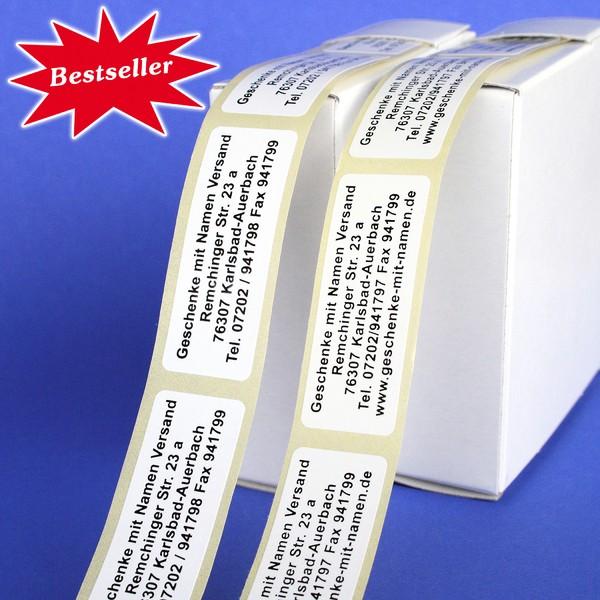 Präge-Etiketten mit schwarzer oder blauer Schrift