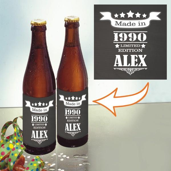 """Bierflaschen-Etiketten """"Made in"""" mit Jahr und Namen, 12 Stück"""