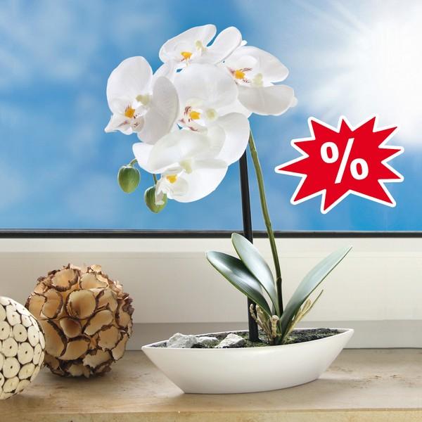 Kunst-Orchidee, mit Seidenblüten, ca. 28 cm groß
