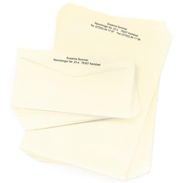 Briefpapier Elfenbein inklusive 100 Umschläge